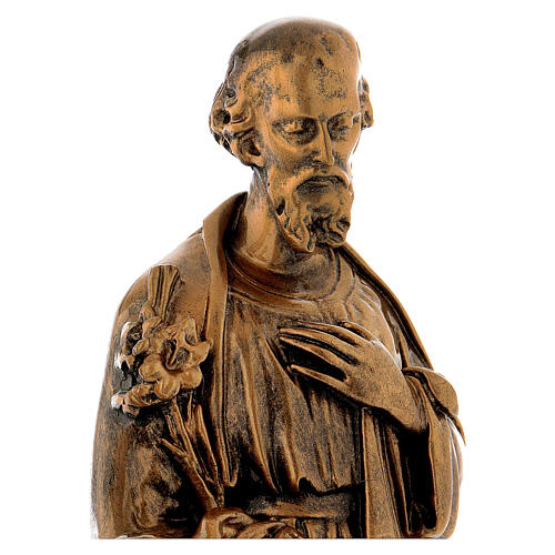 Sacra Famiglia 40 cm bronzata polvere di marmo PER ESTERNO 6