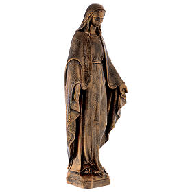 Miraculous Medal statue in bronzed marble powder composite 62 cm, OUTDOOR s5