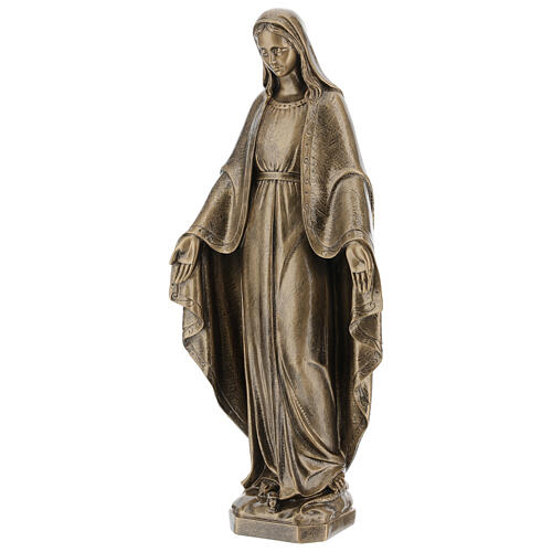 Miraculous Medal statue in bronzed marble powder composite 62 cm, OUTDOOR 3