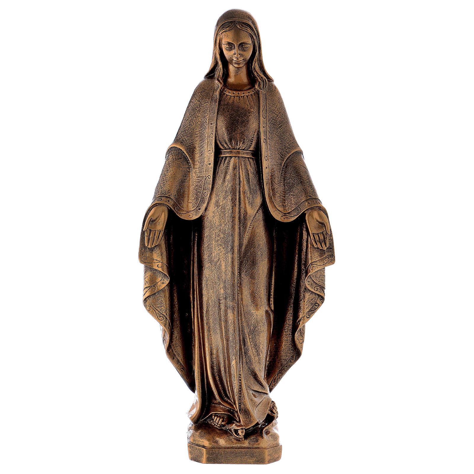 Estatua Virgen Milagrosa 62 cm bronceada polvo de mármol PARA EXTERIOR 4