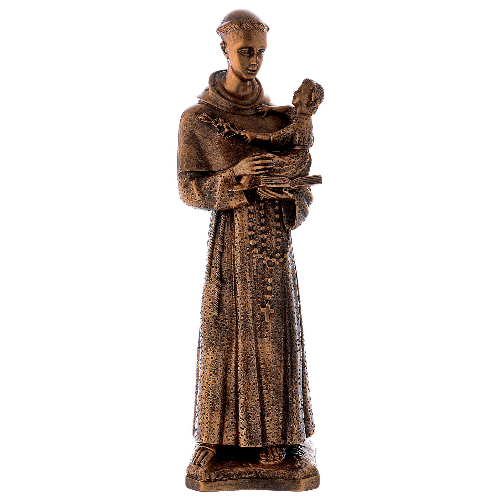 St. Anthony statue in bronzed marble powder composite 60 cm, OUTDOOR 4