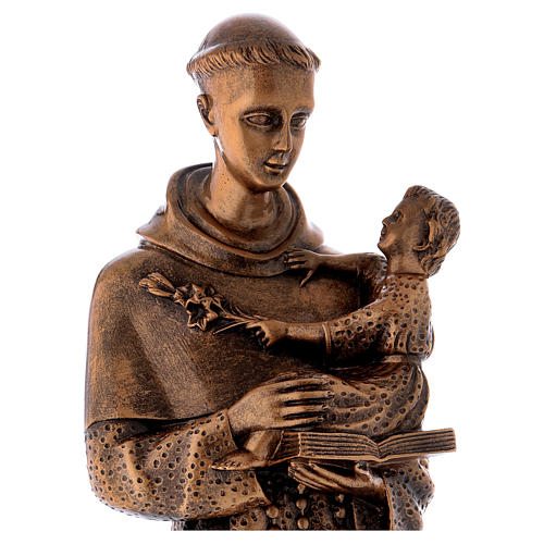 St. Anthony statue in bronzed marble powder composite 60 cm, OUTDOOR 2