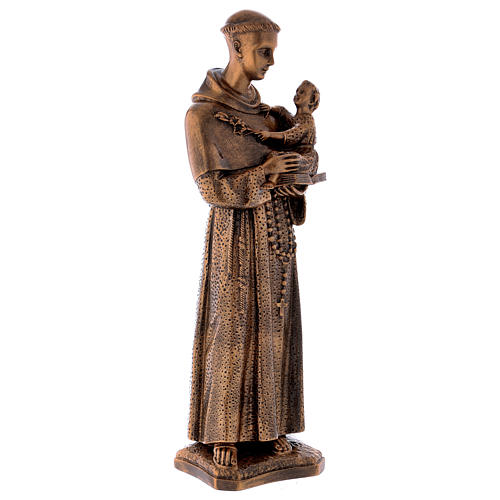 St. Anthony statue in bronzed marble powder composite 60 cm, OUTDOOR 5