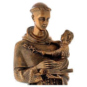 Sant'Antonio da Padova 60 cm bronzato polvere di marmo PER ESTERNO s2