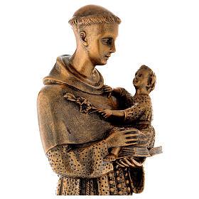 Sant'Antonio da Padova 60 cm bronzato polvere di marmo PER ESTERNO s4