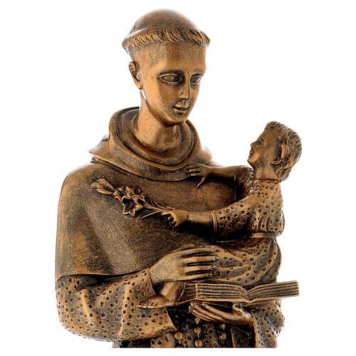 Sant'Antonio da Padova 60 cm bronzato polvere di marmo PER ESTERNO 2