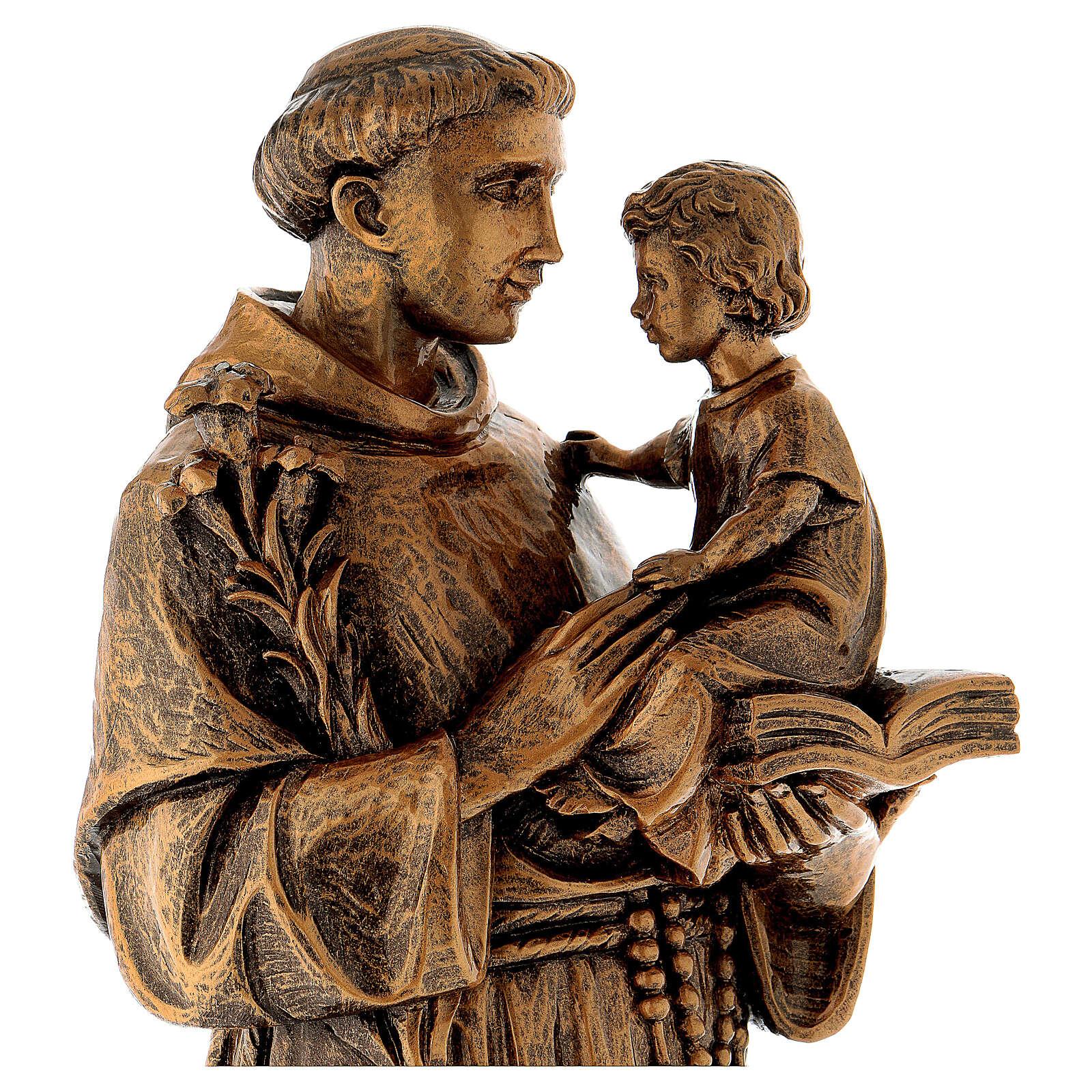 Statua Sant'Antonio 65 cm polvere di marmo bronzata PER ESTERNO 4