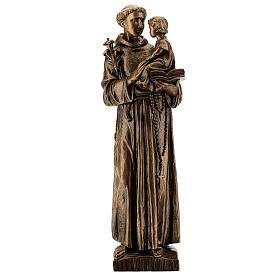 Statua Sant'Antonio 65 cm polvere di marmo bronzata PER ESTERNO s1