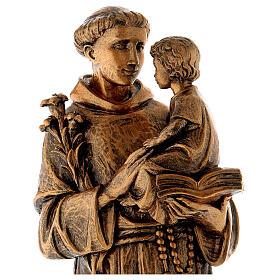 Statua Sant'Antonio 65 cm polvere di marmo bronzata PER ESTERNO s2