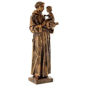 Statua Sant'Antonio 65 cm polvere di marmo bronzata PER ESTERNO s3