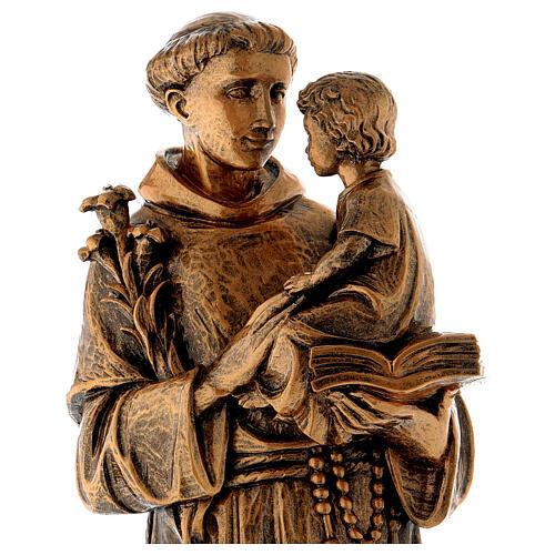 Statua Sant'Antonio 65 cm polvere di marmo bronzata PER ESTERNO 2
