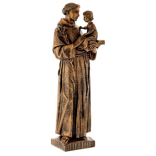 Statua Sant'Antonio 65 cm polvere di marmo bronzata PER ESTERNO 3