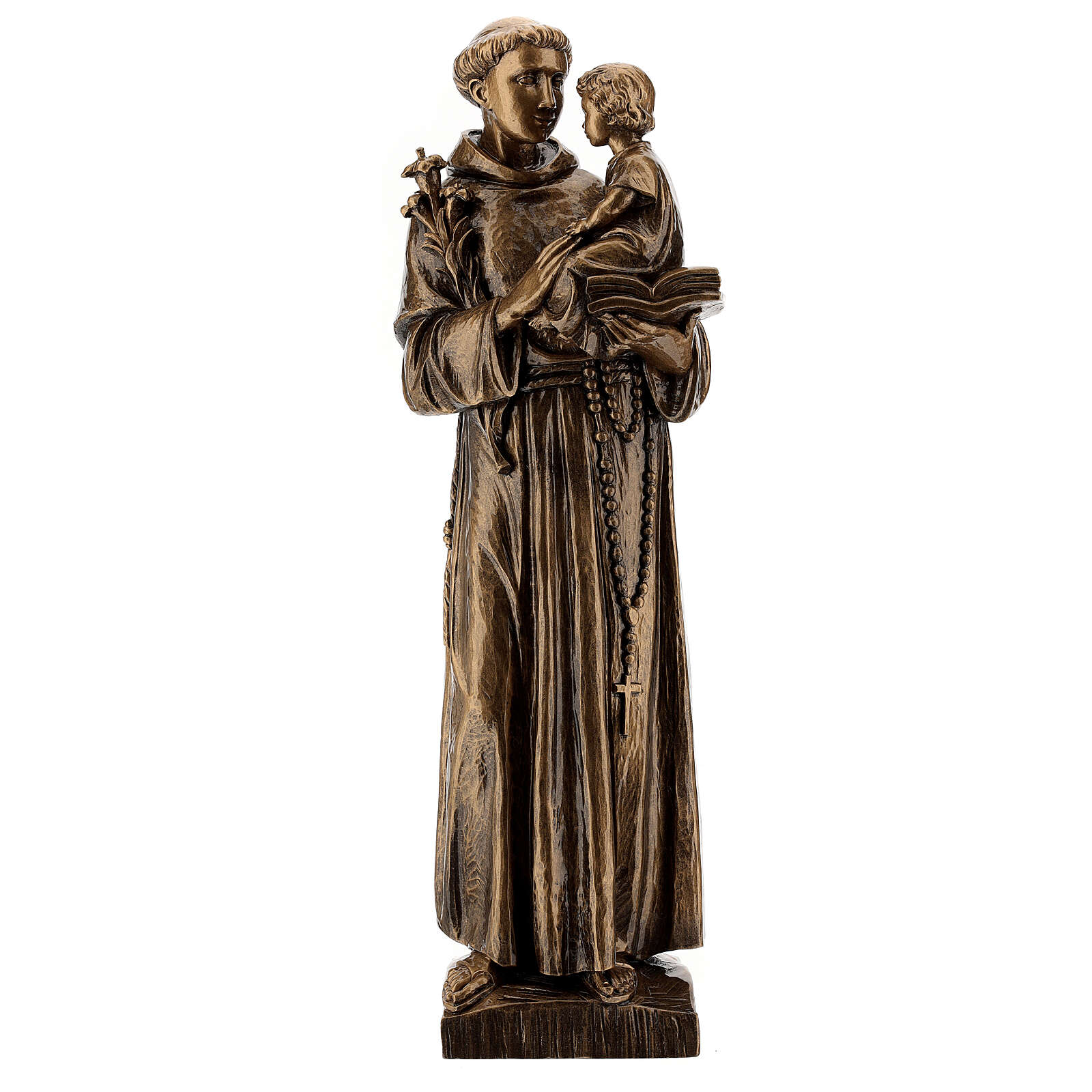 St Anthony statue, 65 cm marble dust bronzed FOR OUTDOORS 4