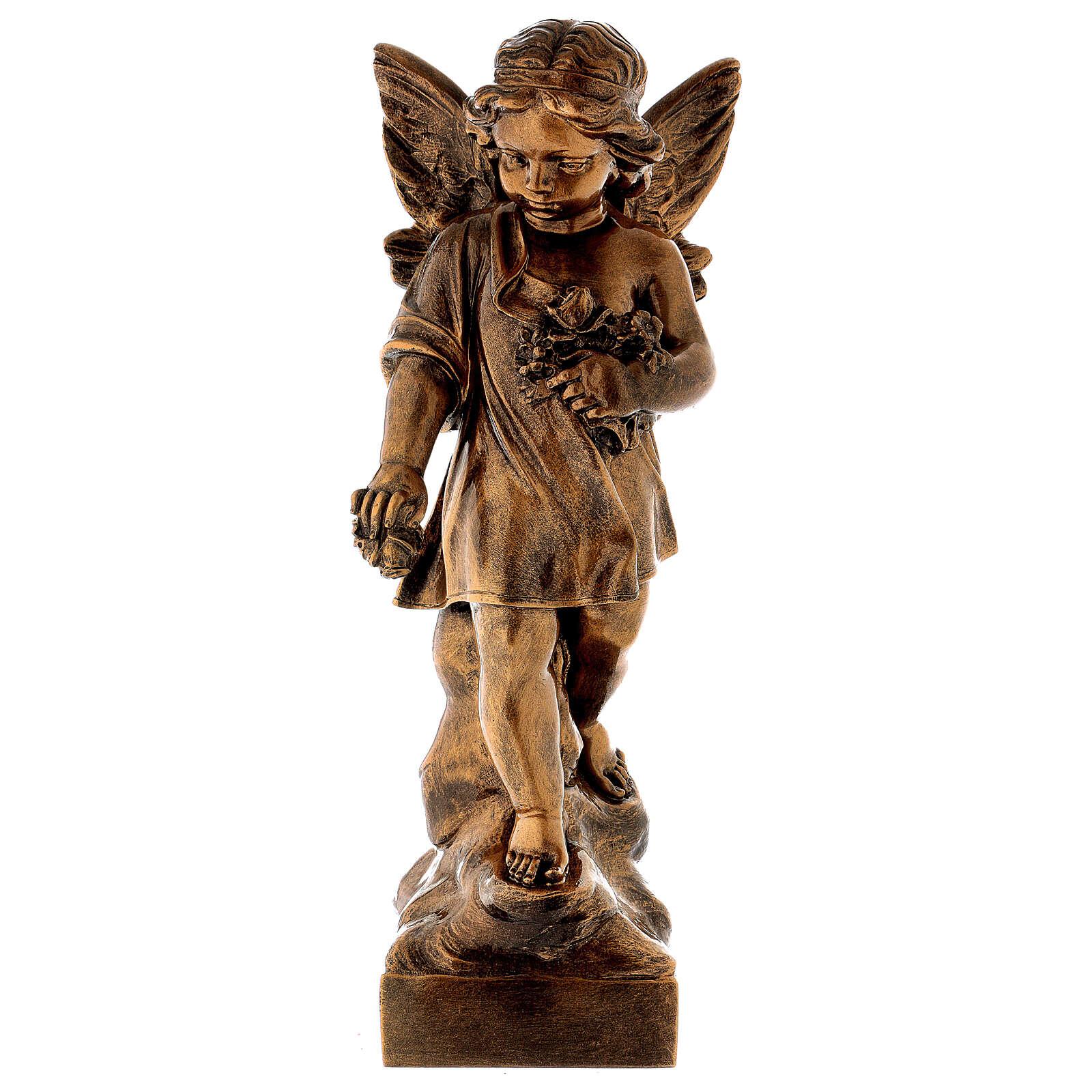 Angelo gettafiori 60 cm polvere marmo bronzata PER ESTERNO 4