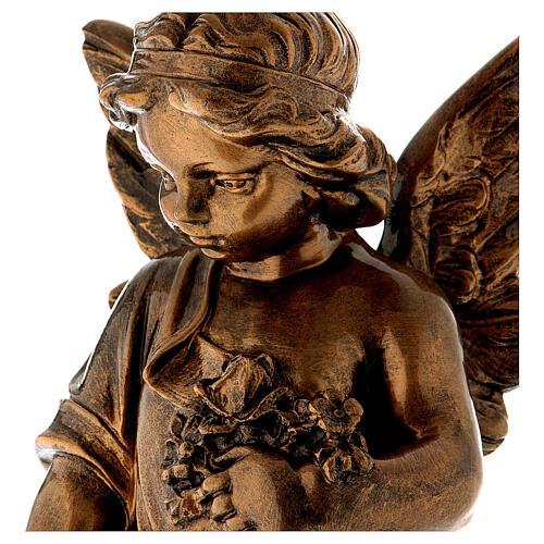 Angelo gettafiori 60 cm polvere marmo bronzata PER ESTERNO 2