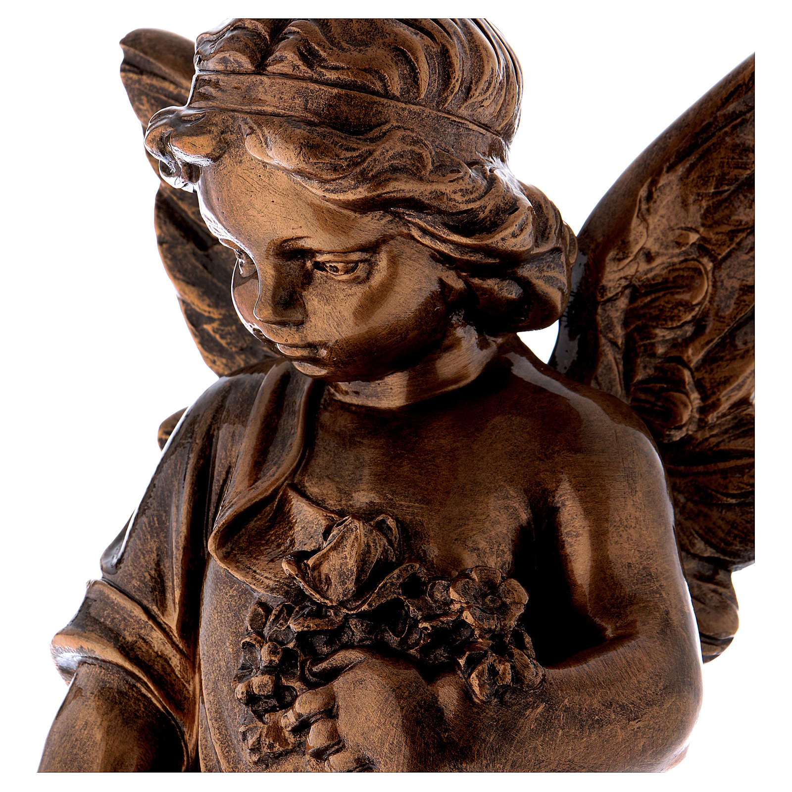 Angel with flowers, 60 cm marble dust bronzed FOR OUTDOORS 4