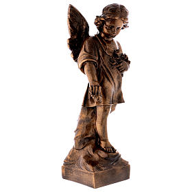 Angel with flowers, 60 cm marble dust bronzed FOR OUTDOORS s4