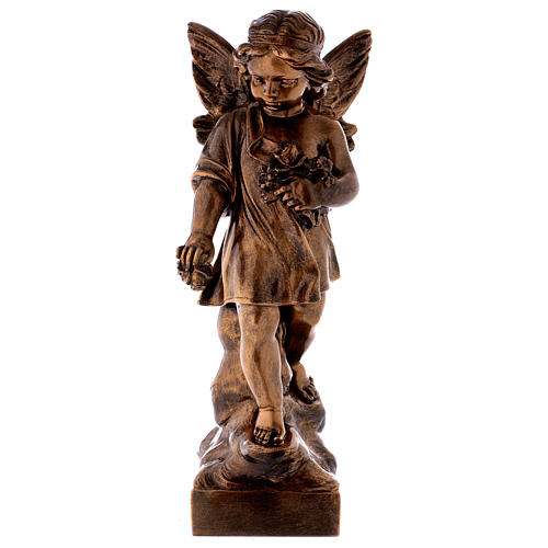 Angel with flowers, 60 cm marble dust bronzed FOR OUTDOORS 1