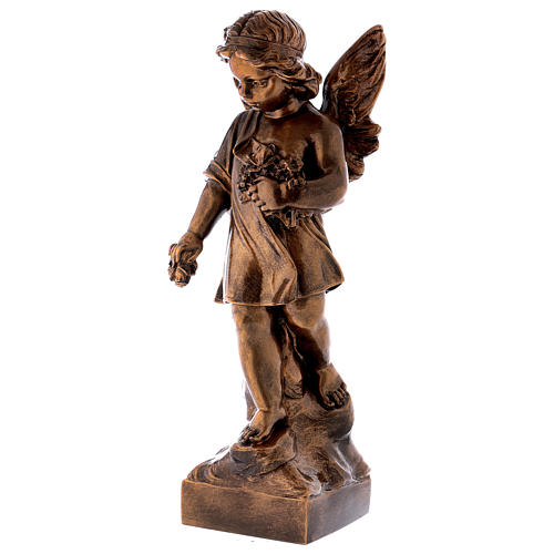 Angel with flowers, 60 cm marble dust bronzed FOR OUTDOORS 3