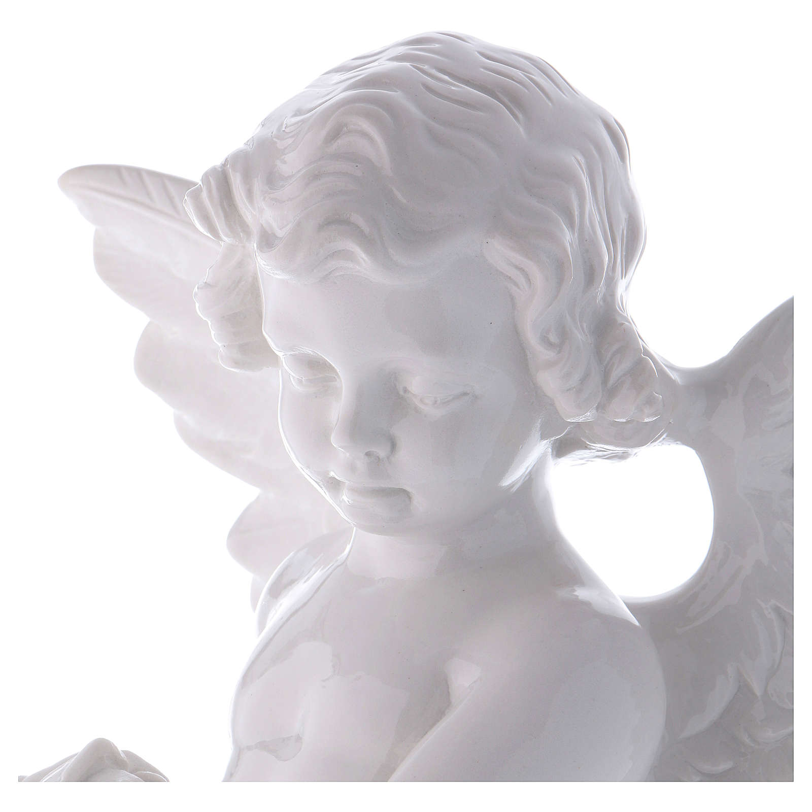 Angel with rose statue in polished white marble powder composite 60 cm, OUTDOOR 4