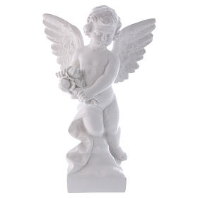 Angel with rose statue in polished white marble powder composite 60 cm, OUTDOOR s1