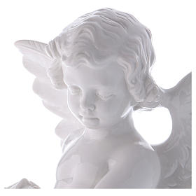 Angel with rose statue in polished white marble powder composite 60 cm, OUTDOOR s2