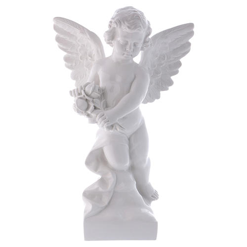 Angel with rose statue in polished white marble powder composite 60 cm, OUTDOOR 1