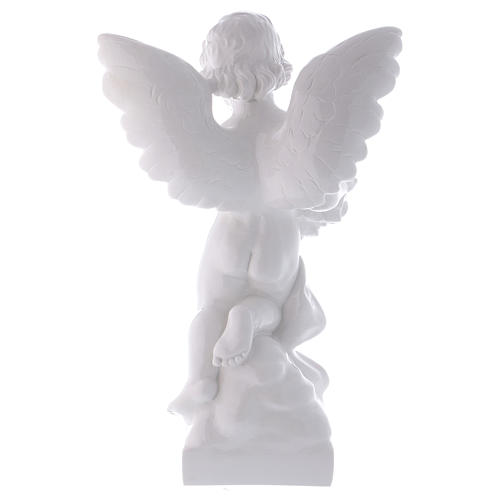 Angel with rose statue in polished white marble powder composite 60 cm, OUTDOOR 5