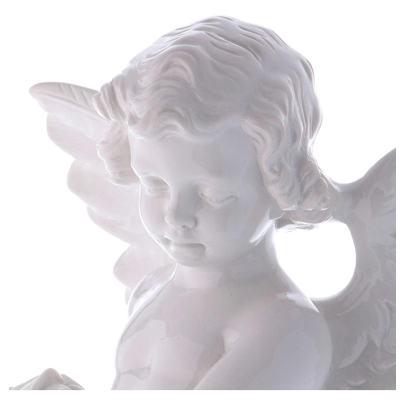 Ange avec rose 60 cm poudre marbre Carrare effet bronze POUR EXTÉRIEUR 4