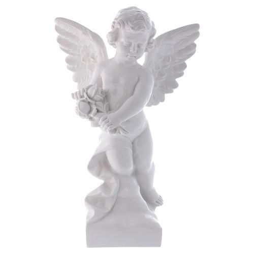 Ange avec rose 60 cm poudre marbre Carrare effet bronze POUR EXTÉRIEUR 1