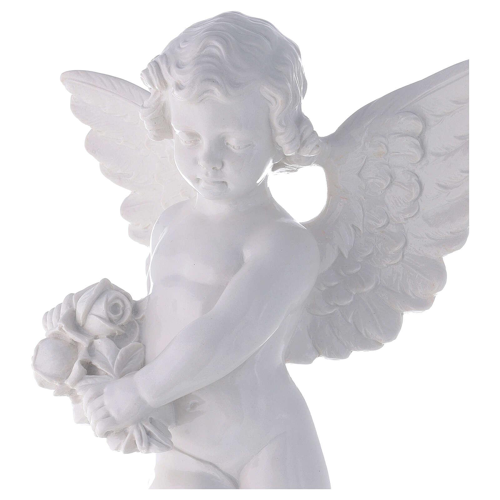 Angioletto con rosa 60 cm polvere marmo bianco lucido PER ESTERNO 4
