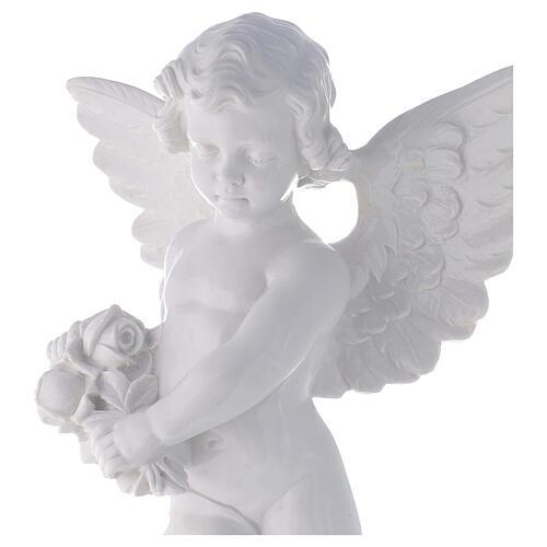 Angioletto con rosa 60 cm polvere marmo bianco lucido PER ESTERNO 2