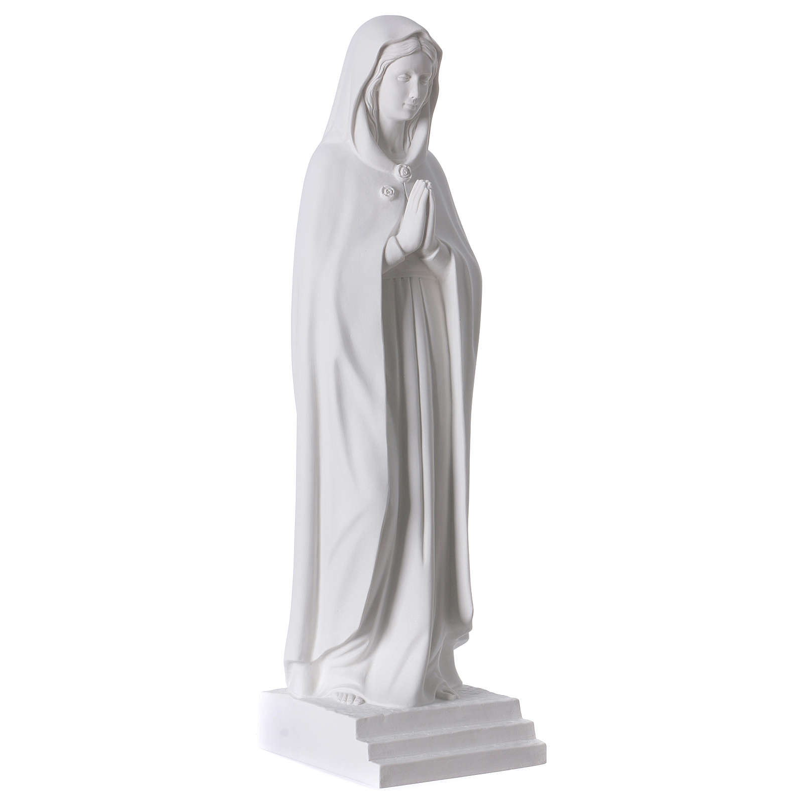 Virgen Rosa Mística 70 cm mármol sintético blanco 4