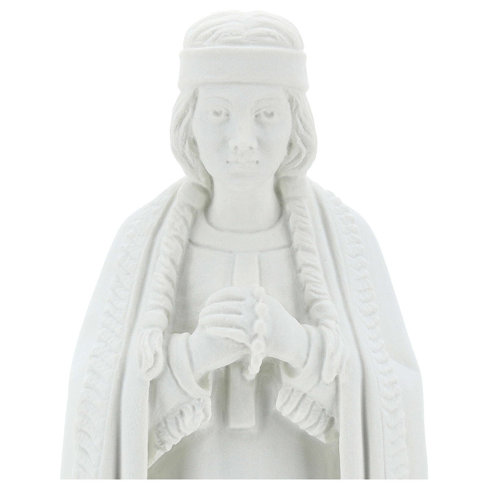 Statue of St. Catherine Tekakwitha 55 cm in white marble powder 4