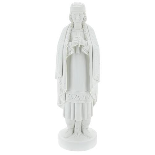 Statue of St. Catherine Tekakwitha 55 cm in white marble powder 1