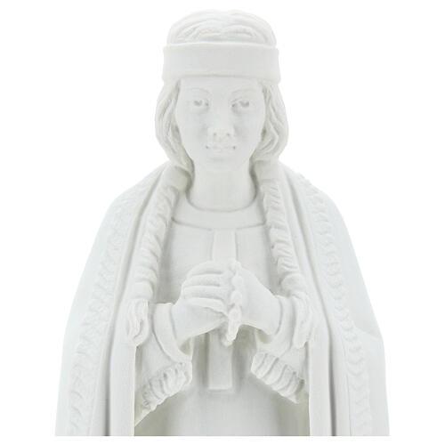 Statue of St. Catherine Tekakwitha 55 cm in white marble powder 2