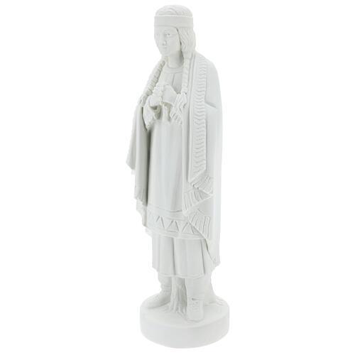 Statue of St. Catherine Tekakwitha 55 cm in white marble powder 3