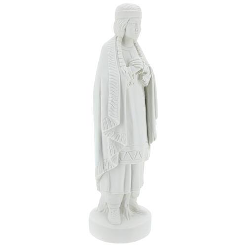 Statue of St. Catherine Tekakwitha 55 cm in white marble powder 5