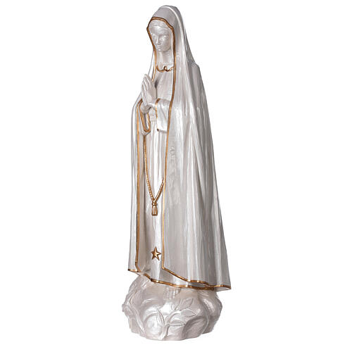 Statue Notre-Dame de Fatima poudre marbre finition nacrée or 60 cm 3