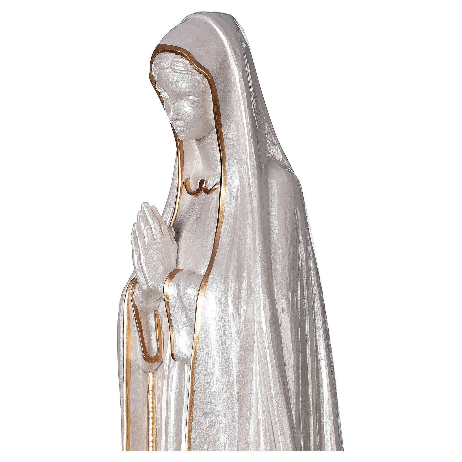 Statua Madonna Fatima polvere marmo fin. madreperlata oro 60 cm 4