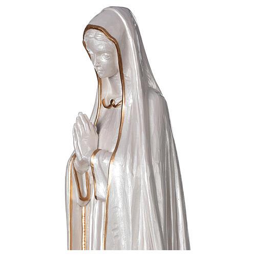 Statua Madonna Fatima polvere marmo fin. madreperlata oro 60 cm 6