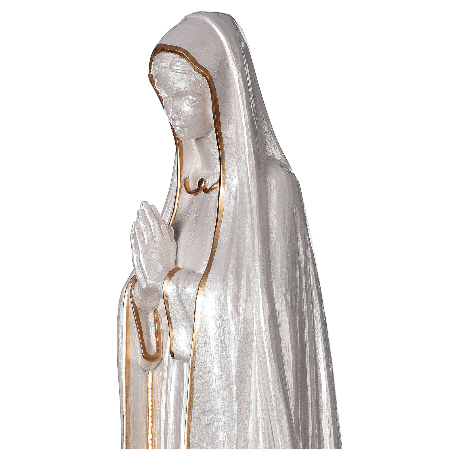 Our Lady of Fatima statue marble dust finish mother of pearl gold 60 cm 4