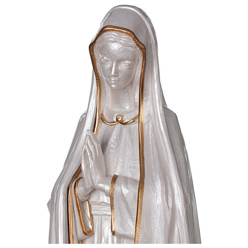 Our Lady of Fatima statue marble dust finish mother of pearl gold 60 cm 2