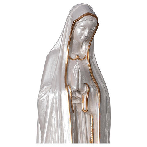Our Lady of Fatima statue marble dust finish mother of pearl gold 60 cm 5