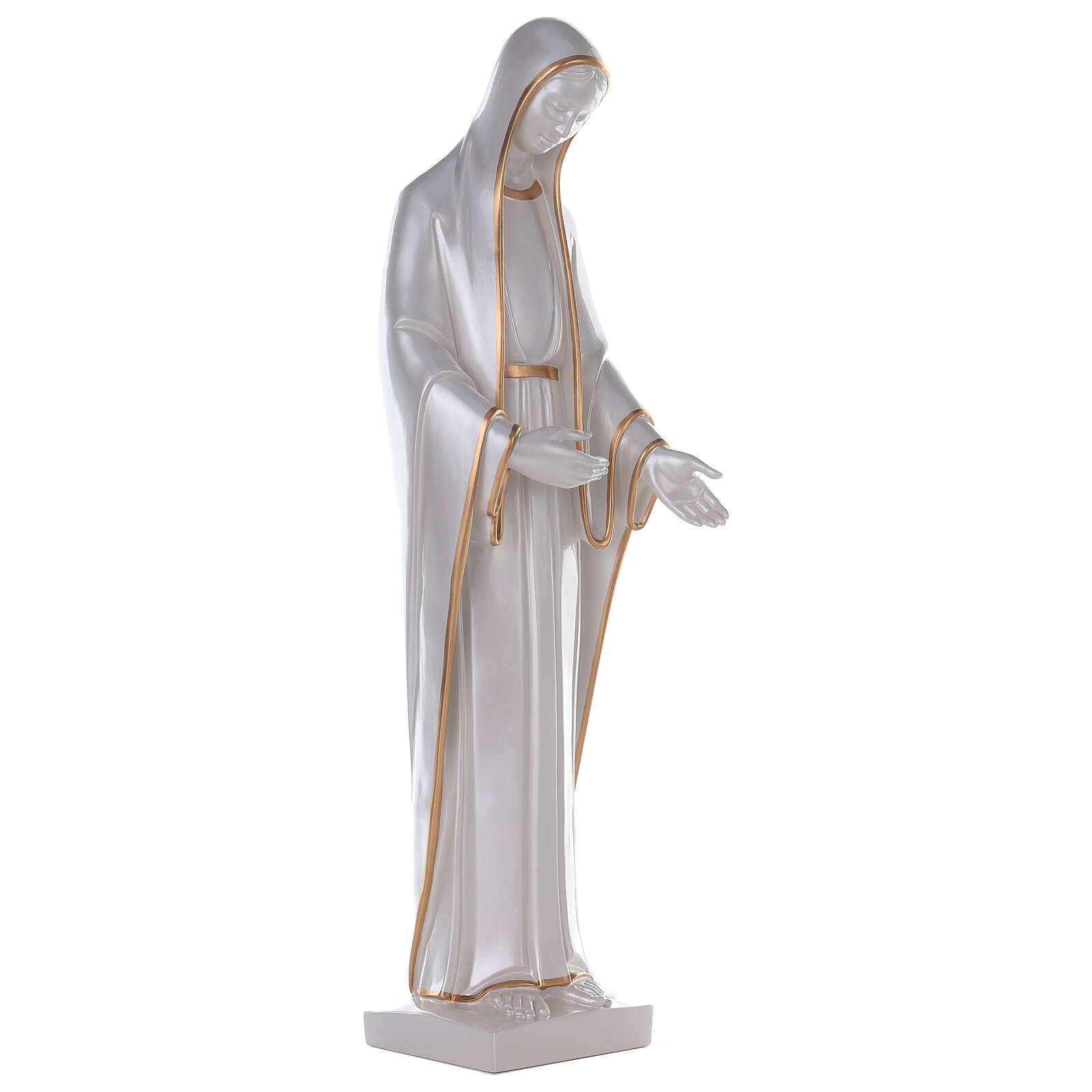 Miraculous Mary statue in reconstituted marble mother of pearl gold decor 4