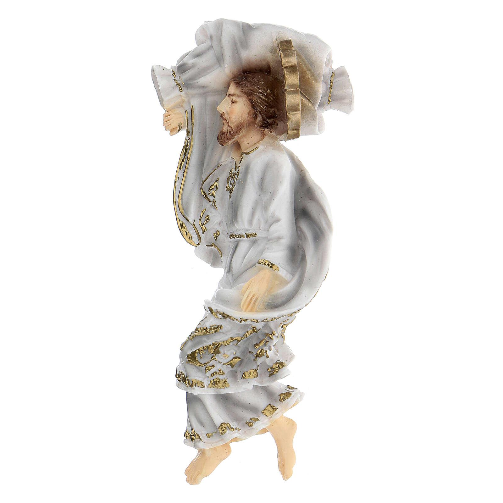 Schlafender Sankt Joseph aus Marmorstaub mit weißem Gewand, 12 cm 4