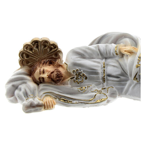 Schlafender Sankt Joseph aus Marmorstaub mit weißem Gewand, 12 cm 2