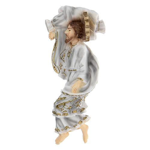 Schlafender Sankt Joseph aus Marmorstaub mit weißem Gewand, 12 cm 3