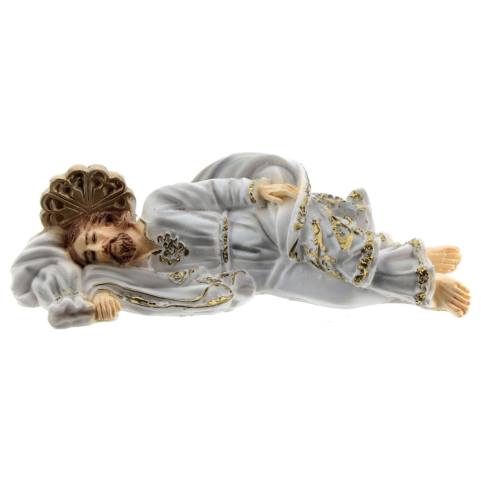 San Giuseppe dormiente veste bianca polvere di marmo 12 cm 4