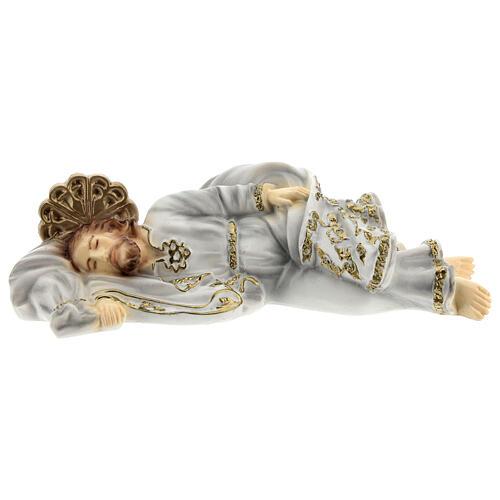 Schlafender Sankt Joseph aus Marmorstaub mit goldfarbigen Verzierungen, 20 cm 1